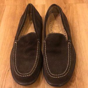 J Crew dark brown suede loafers
